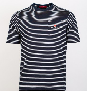 80s Casuals - 'Cannes' Breton Pocket T-Shirt (Navy Blue / White)