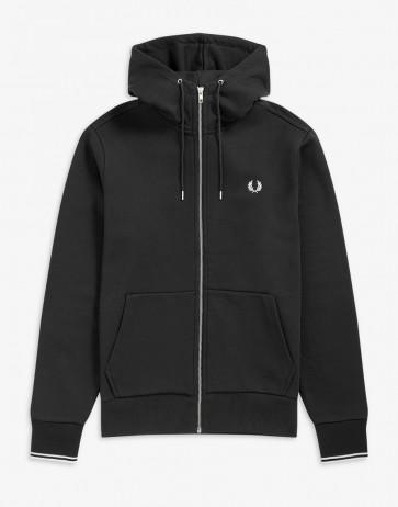 Fred Perry - Full Zip Hooded Sweatshirt in Black