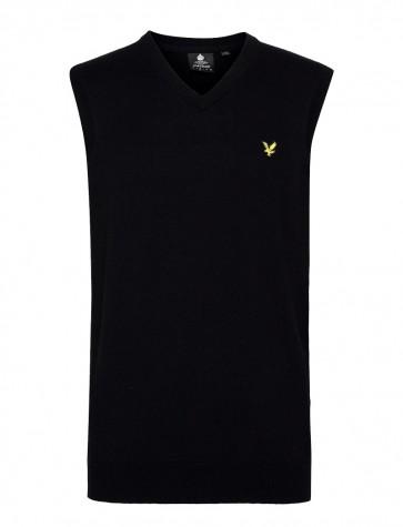 Lyle & Scott - Cotton Merino Vest in Black