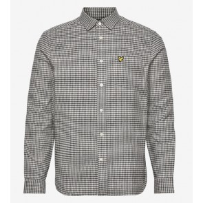 Lyle & Scott - Brushed Cotton Tweed Check Shirt in Grey Marl