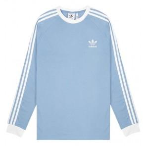 Adidas Originals - 3-stripes Longsleeve T-Shirt  in Light Blue