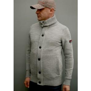 Mathori London - Long Collar Woolen Cardigan in Melange Grey