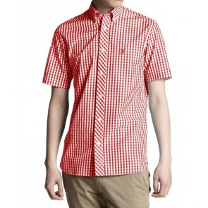Fred Perry - S/S Gingham Shirt in Red