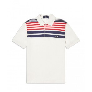 Fred Perry - Striped Piqué Polo Shirt in White