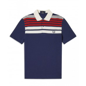Fred Perry - Striped Piqué Polo Shirt in Navy Blue