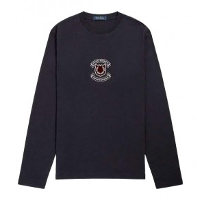 Fred Perry - Shield Longsleeve T-Shirt in Navy