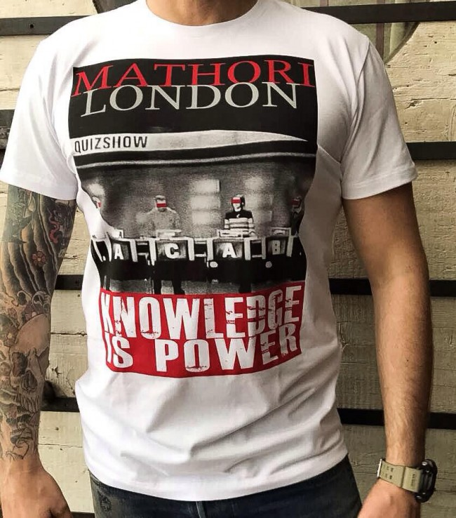 Mathori london 39 39 knowledge is power 39 39 heavy t shirt in white for Thick t shirts brands